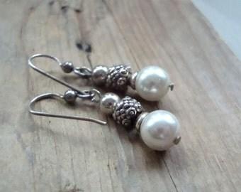 Pearl and Silver Earrings Dangle Earrings Sterling June Birthstone Gifts Under 40 Gifts For Her Beaded Earrings