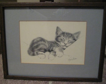 framed vintage slepping kitten print-signed-sale