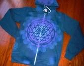 M Sri Yantra Mandala Sacred Geometry Zip Hoodie w/ Flower of Life, Honeycomb, and Hexagon Tesselation