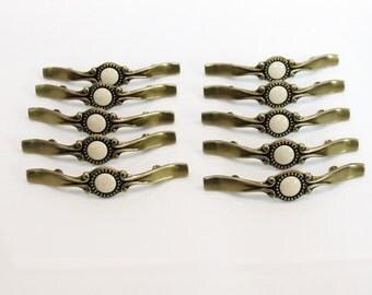 10 Mid Century Brass & Ceramic Drawer Pull Handles Unused Vintage Hardware Dresser Pulls