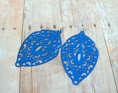 F R E N C H - Bright Cobalt Blue, Lace Handpainted Metal Filigree, Silver Plated Dangle Earrings