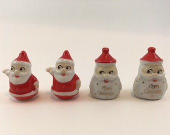 Set Of Four Christmas Ceramic Placecard Holders Santas