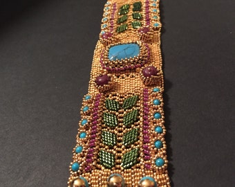 Matte gold seed bead cuff bracelet with rubies and turquoise. #2