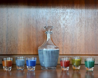 vintage 1960s verrerie cristallere d'arques hounds-tooth style french cocktail set
