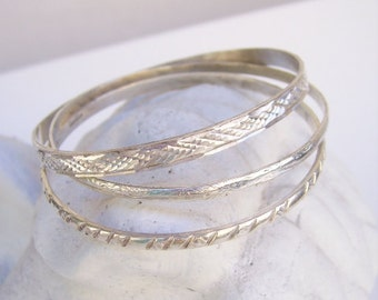 Vintage Mexican Taxco Etched Stamped Sterling Silver Bangle Bracelet-Take Your Pick