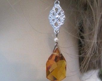Vintage Updated Czech Amber Glass Drop Pierced Earrings f Original Screw On Earrings