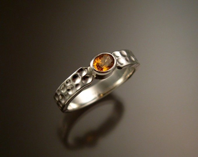 Orange Garnet and Sterling Silver ring with Moonscape band made to order in your size