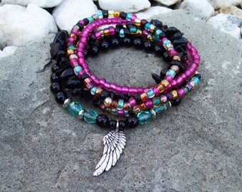 Midnight Garden - Bohemian Hippie Stretch Stacking Bracelets with Angel Wing Charm and Black Onyx Gemstone Bracelets