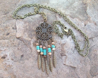 Ornate Medallion Pendant with Chain Necklace, Picture Jaspter and Turquoise heishi, Southwestern Boho