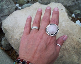 Boho Ring, Bohemian Rose Quartz ring, silver and gemstone ring, adjustable ring, large stone gypsy ring