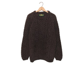 Vintage Tivoli Handknit Dark Brown Pure New Wool Fisherman Sweater Made in Ireland - XL