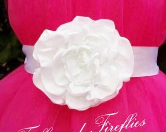 White Satin Flower Girl Flower Sash/Wedding Flower Sash..Sizes: Flowergirl, Bridal, Maternity Flower Sash..OTHER COLORS AVAILABLE