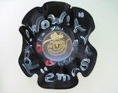Repurposed Vinyl Record  Decorative Painted Bowl