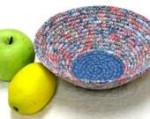 Coiled Fabric Basket, Bowl, Wedding Favor Basket, Card Holder, Container, Fruit Basket, Key Basket, Bread Basket