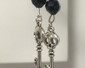 Silver Skull key dangle earrings with jet black beads