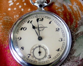 """Vintage Pocket Watch """"Zlatoust"""" Working Mechanical Mens Pocket Watch 1956  from Russia Soviet Union USSR"""