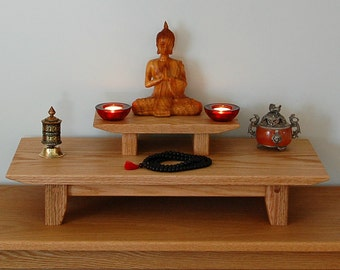 Solid Oak Table Top Meditation Shrine With A Removable Pedestal.