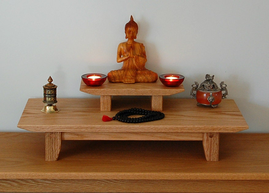 Solid Oak Table Top Meditation Shrine With A Removable