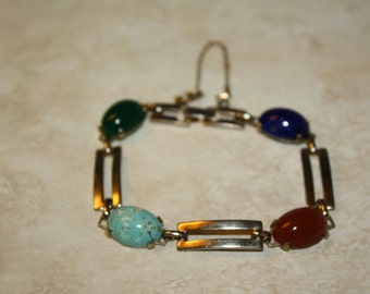 "Vintage Southwestern Sterling Silver Carnelian, Lapis, Turquoise, and Jade Bracelet 7"""