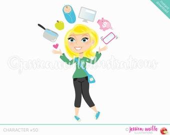 Blonde Juggling Mom Character Illustration, Multitasking Blog Girl, Woman Character, Juggling woman Cartoon, Blog Character #C050