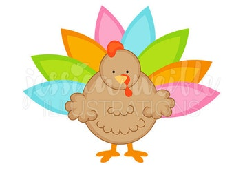 Neon Thanksgiving Turkey Cute Digital Clipart, Cute Turkey Clip art, Thanksgiving Graphics, Thanksgiving Turkey Illustration, #247