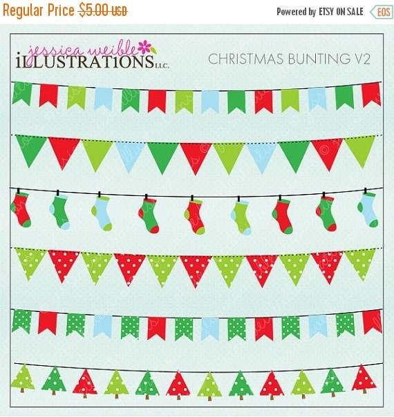 SALE Christmas Bunting V2 Brighter Cute Digital Christmas Clipart for Card Design, Scrapbooking, and Web Design