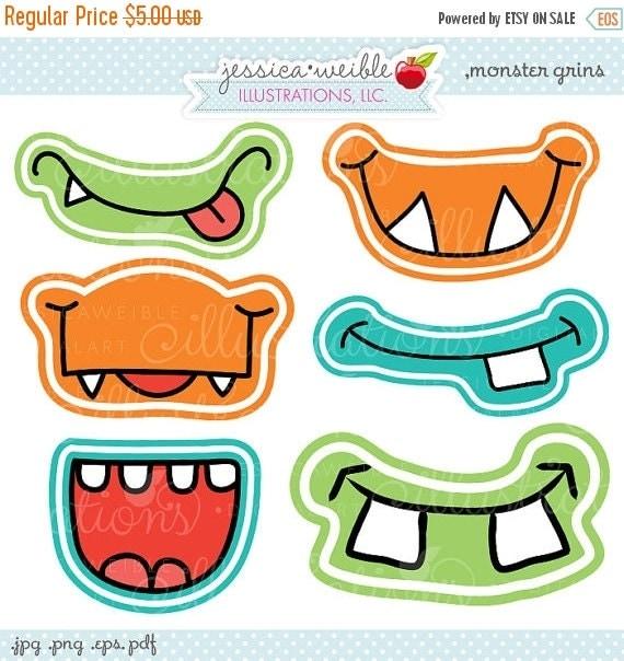 SALE Monster Grins Cute Printable Birthday Party Favors - Printable Monster Smiles, Monster Faces