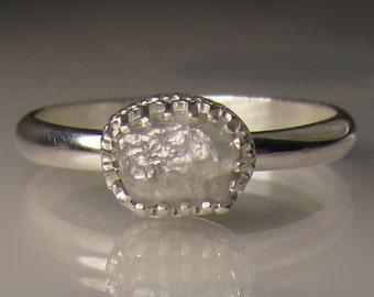 Raw Engagement Ring, White Raw Diamond Ring, Rough Diamond Ring
