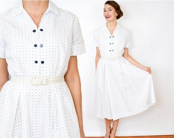 SummerS SALE 40s White Dotted Dress | Cotton Day Dress, Small