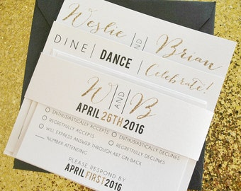 Weslie Glitter Wedding Invitation Suite with Belly Band - White, Glitter Gold and Black, Customizable