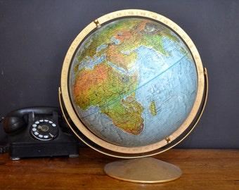 "Vintage World Globe, Land and Sea Globe Series, Replogle 12"" World Globe, 12 Inch Diameter"