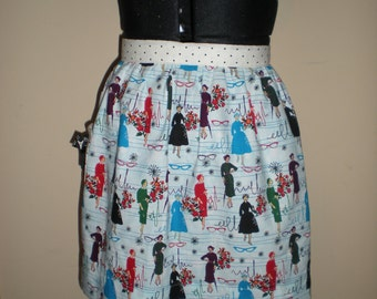 Vintage inspired half apron blue 50s ladies dress fashion print with polka dots straps and pocket with bow Ready to ship