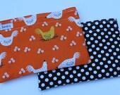 Reusable Sandwich Bag Set Reusable Snack Bag Orange Chicken Farming Black Polka Dot Reusable Baggies