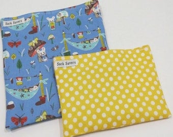Reusable Sandwich and Snack Bag Set Eco Friendly Woodland Mouse Camp Yellow Polka Dots