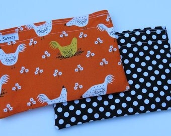 Reusable Sandwich Bag Set Reusable Snack Bag Orange Chicken Farming Black Polka Dot Reusable Baggies