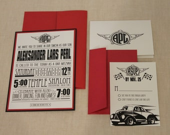 Hot Rod Car Theme Bar Mitzvah Invitation