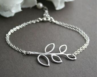 Silver Branch Bracelet, Leaf Bracelet, Bridesmaids Gift, Wedding Jewelry, Gift for Her, Silver Leaf Bracelet, Sterling Silver