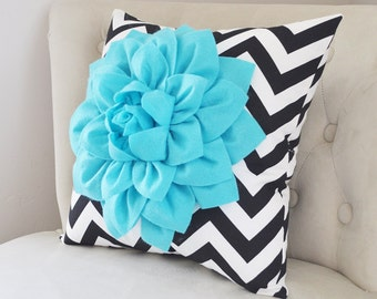 Light Turquoise Dahlia on Black and White Zigzag Pillow -Chevron Pillow- Home Decor Pillow - Staging Prop Pillows