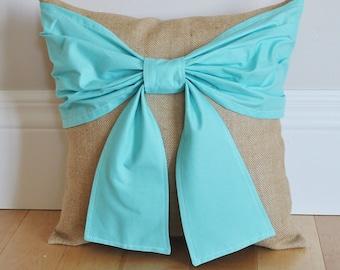 Aqua Burlap Style Linen Pillow Cover - Rustic Shabby Chic Accent Decor Decorative Throw Pillow Cover, Burlap Pillow, Beige Pillow