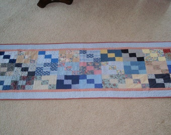 "Quilted Bed Runner king queen size 26 x 98"" shades of blue design"