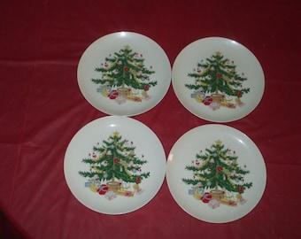 LOT Four Vintage Japan LEFTON Christmas Tree Dessert Sandwich Plates