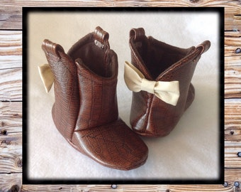 Baby Leather Cowboy Boots | Choose your Leather & Bow Color | Preemie size up to 24 Months