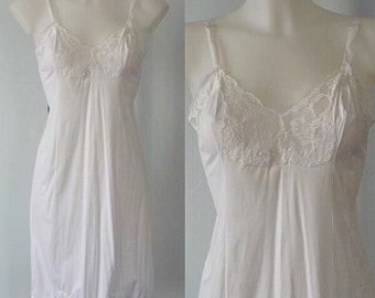 Vintage Harvey Woods White Full Slip, Vintage Slips, Vintage White Slip, Wedding, Vintage Lingerie, Full Slip, Harvey Woods