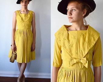 Vintage Dress, Vintage Dresses, 1950s Dress, 1950s Dress Suit, Gold Dress, Cotton Dress with Jacket, Jacket, Summer Dress, Wedding