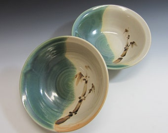 Set of 2 bowls /  pottery / salad bowl / bibimbap bowl / handmade / pasta bowl / serving bowl / green