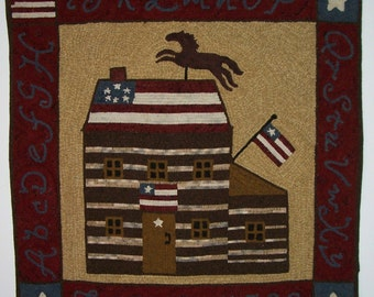 Hooked Rug Pattern - Rug Hooking Pattern - Log Cabin - Patriotic - Independence Day - Flags - Horse - Stars - Alphabet