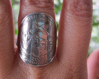 Wraparound 2006 South Dakota Quarter Ring with Sterling Silver Band MADE TO ORDER.