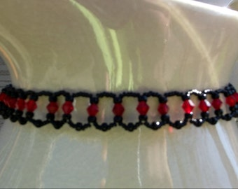 Tutorial only Red and Black Beaded Choker