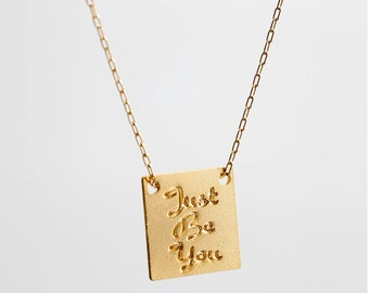 Word necklace, Just be you, Inspirational jewelry,  Quote Necklace