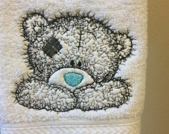 Embroidered white hand towel~ Tatty Teddy